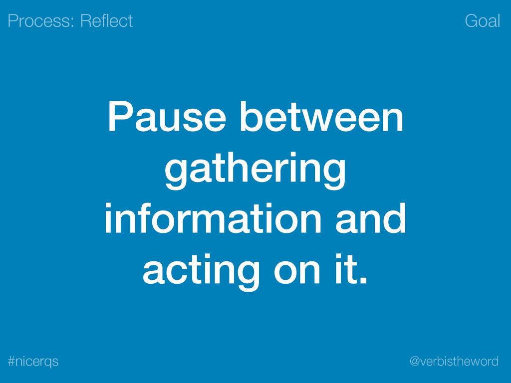 Goal @verbistheword #nicerqs Pause between gath...