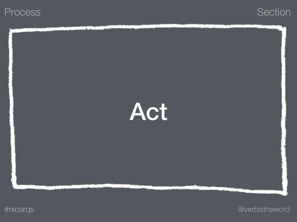 Section @verbistheword #nicerqs Act Process