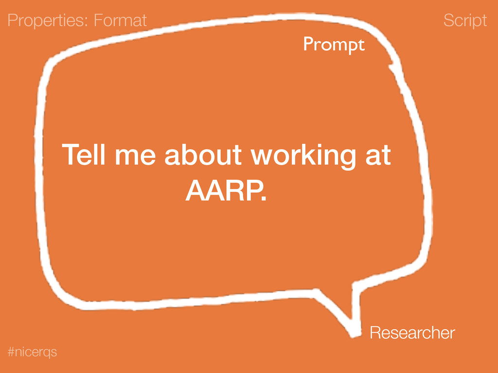 Script #nicerqs Tell me about working at AARP. ...