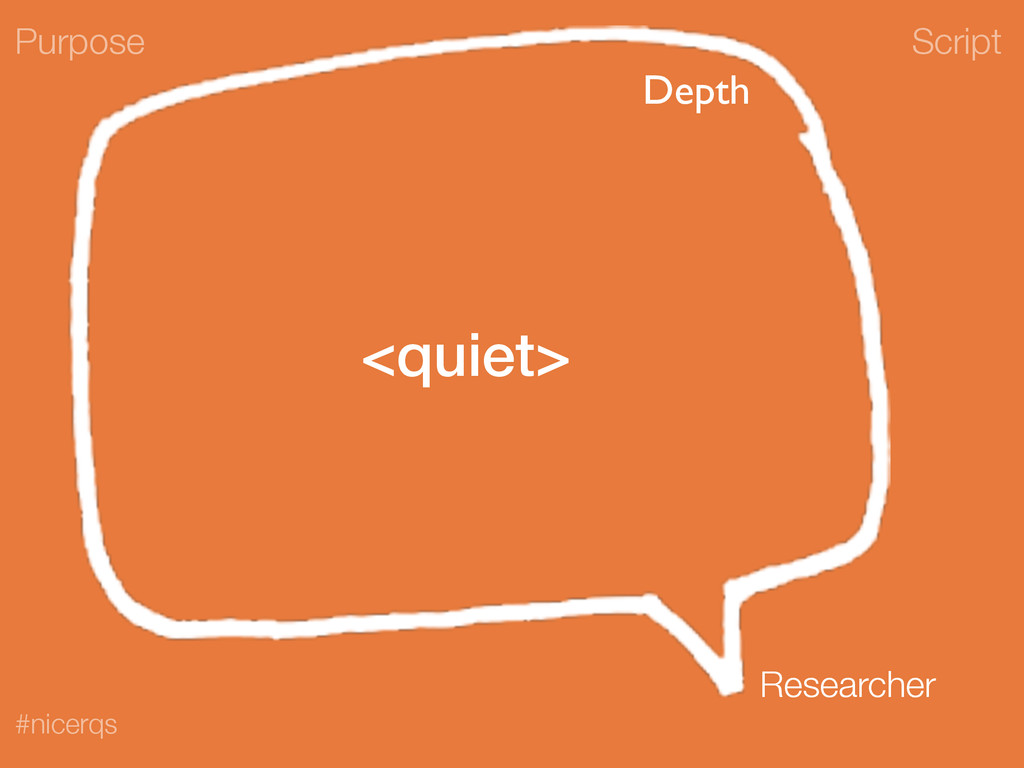 Script #nicerqs <quiet> Purpose Researcher Depth