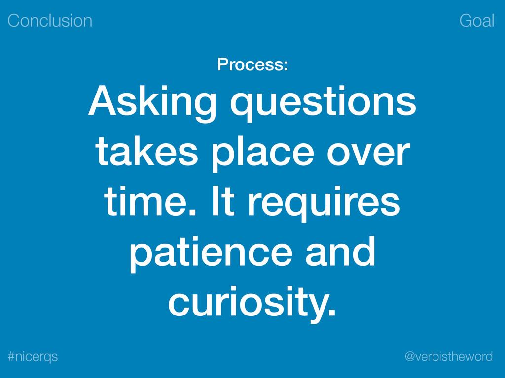 Goal @verbistheword #nicerqs Process: Asking qu...