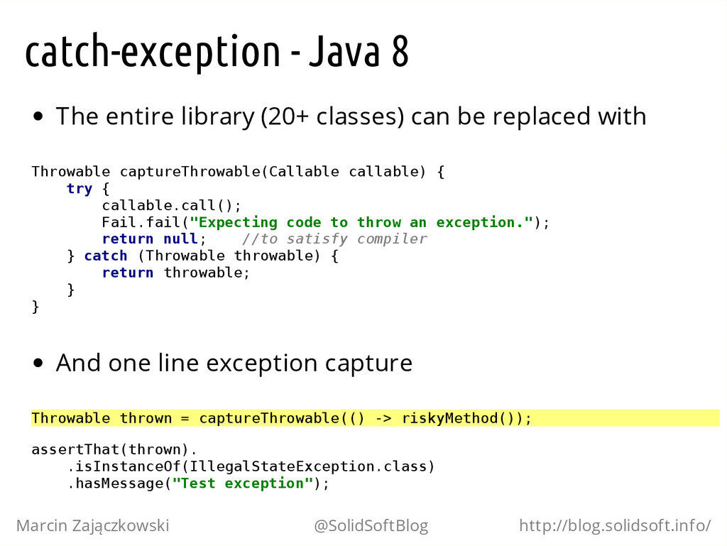 catch-exception - Java 8 The entire library (20...