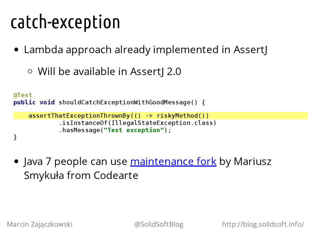 catch-exception Lambda approach already impleme...