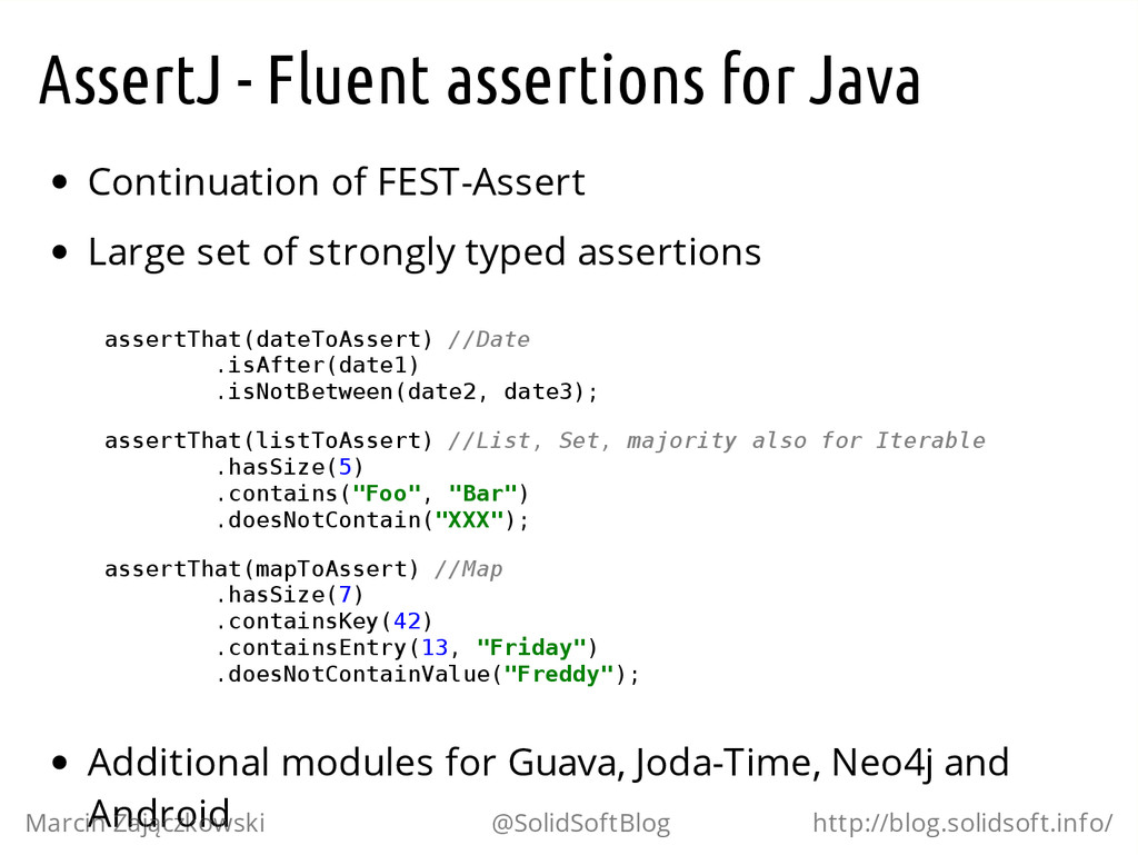 AssertJ - Fluent assertions for Java Continuati...