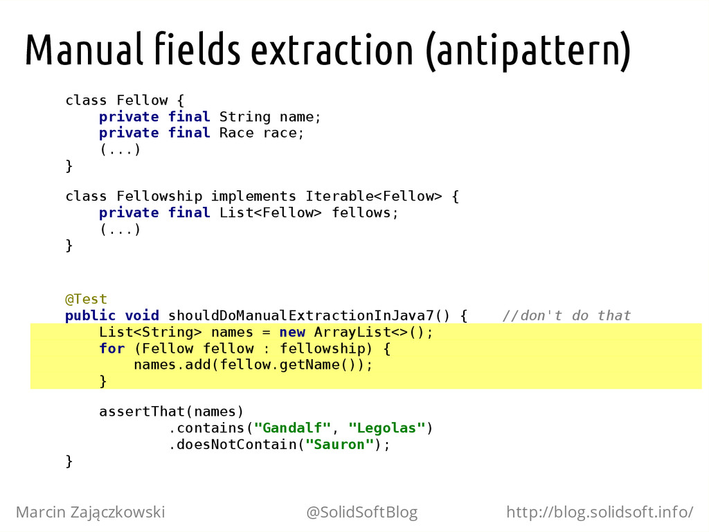 Manual fields extraction (antipattern) c l a s ...