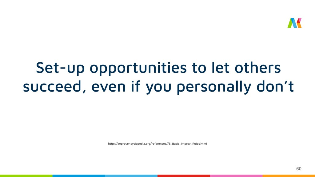 60 Set-up opportunities to let others succeed, ...