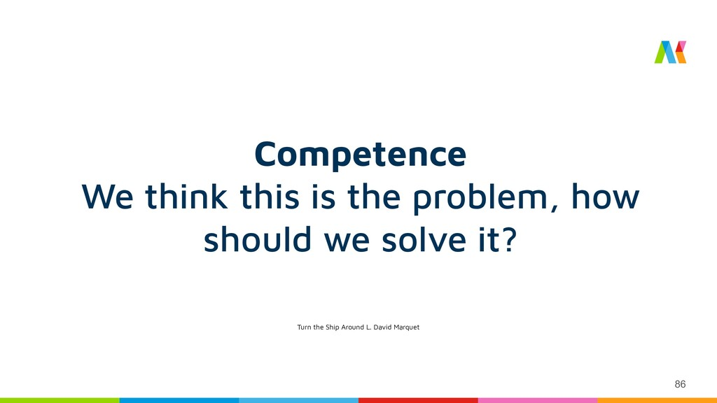 86 Competence We think this is the problem, how...