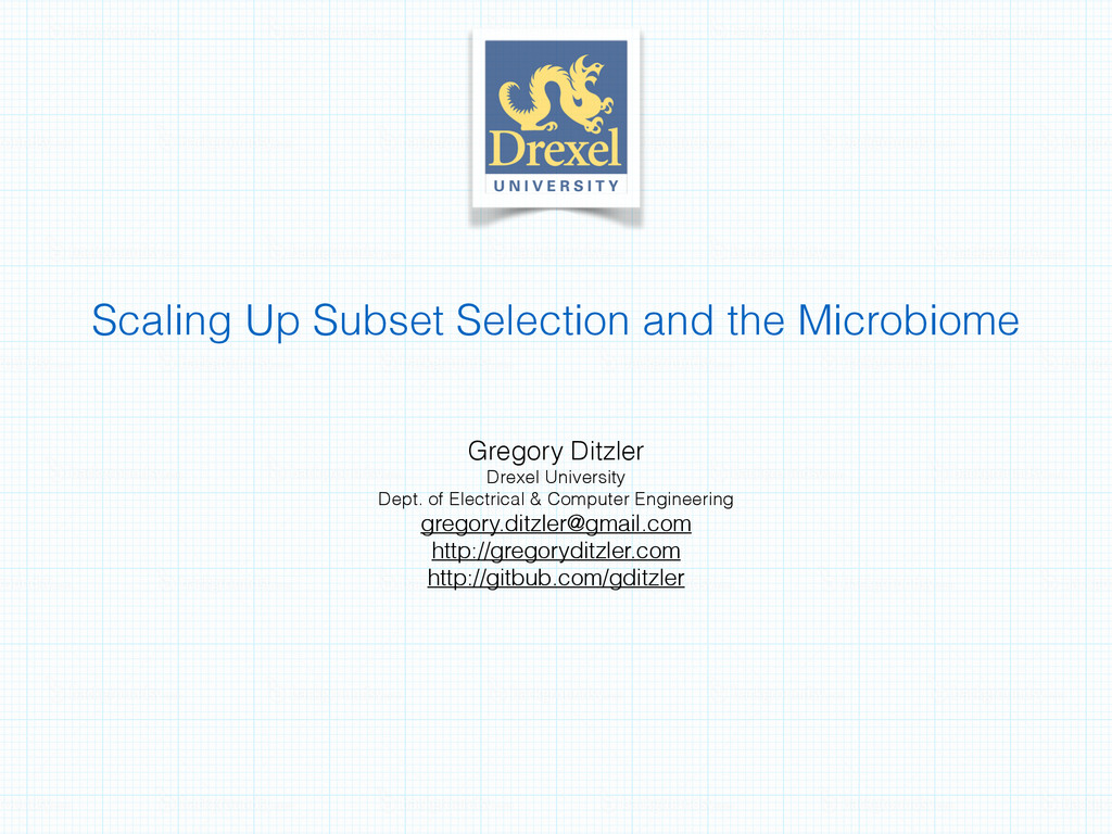 Scaling Up Subset Selection and the Microbiome ...