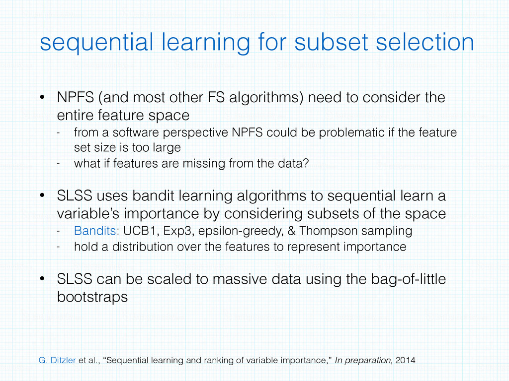 sequential learning for subset selection • NPFS...
