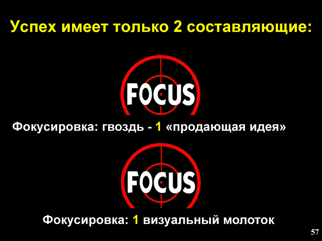 Успех имеет только 2 составляющие: 57 Фокусиров...