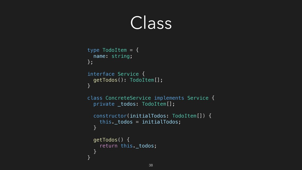 Class type TodoItem = { name: string; }; interf...