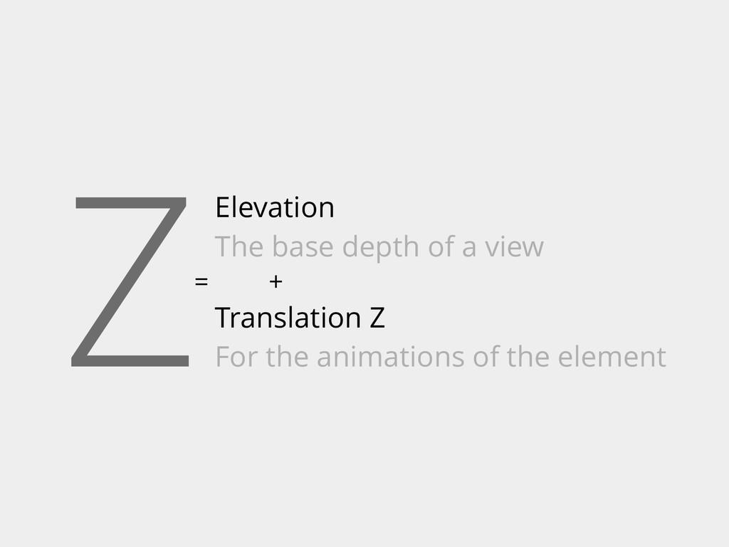 Z= Elevation The base depth of a view Translati...
