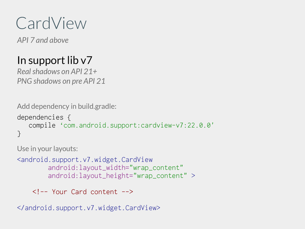 CardView API 7 and above In support lib v7 Real...