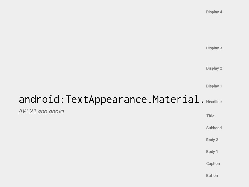 android:TextAppearance.Material. API 21 and abo...