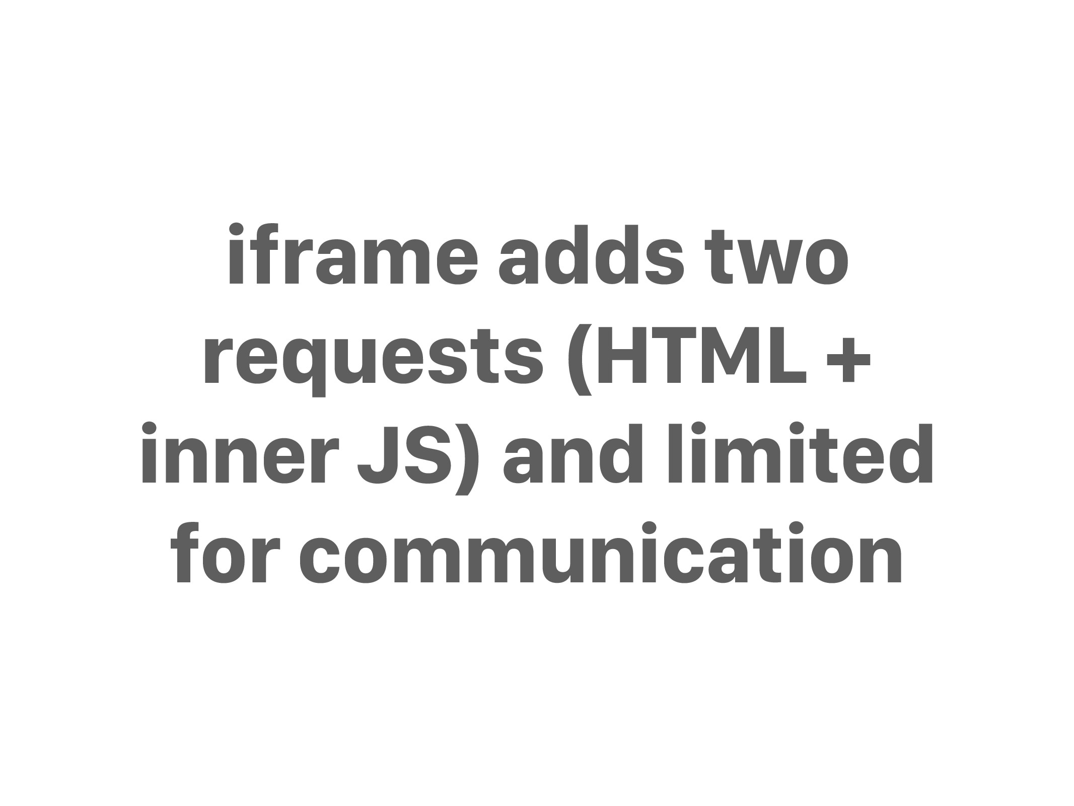 iframe adds two requests (HTML + inner JS) and ...