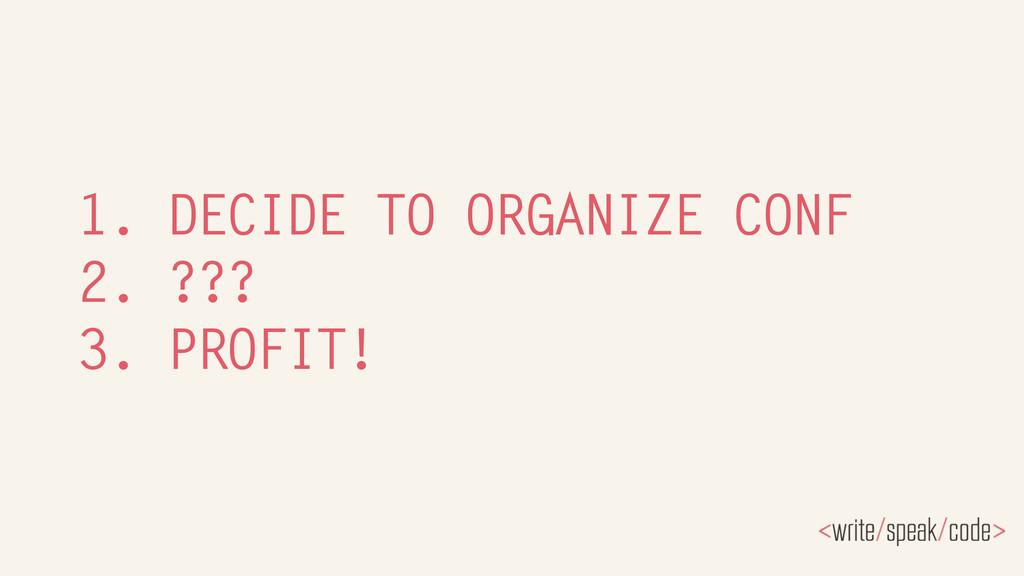 1. DECIDE TO ORGANIZE CONF 2. ??? 3. PROFIT!