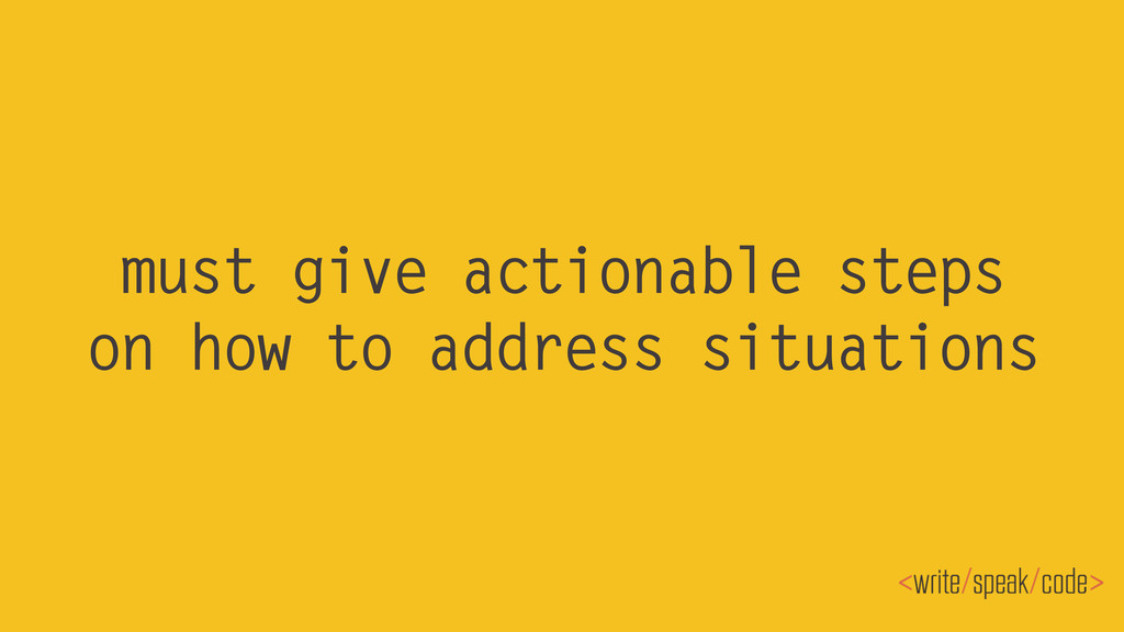 must give actionable steps on how to address si...