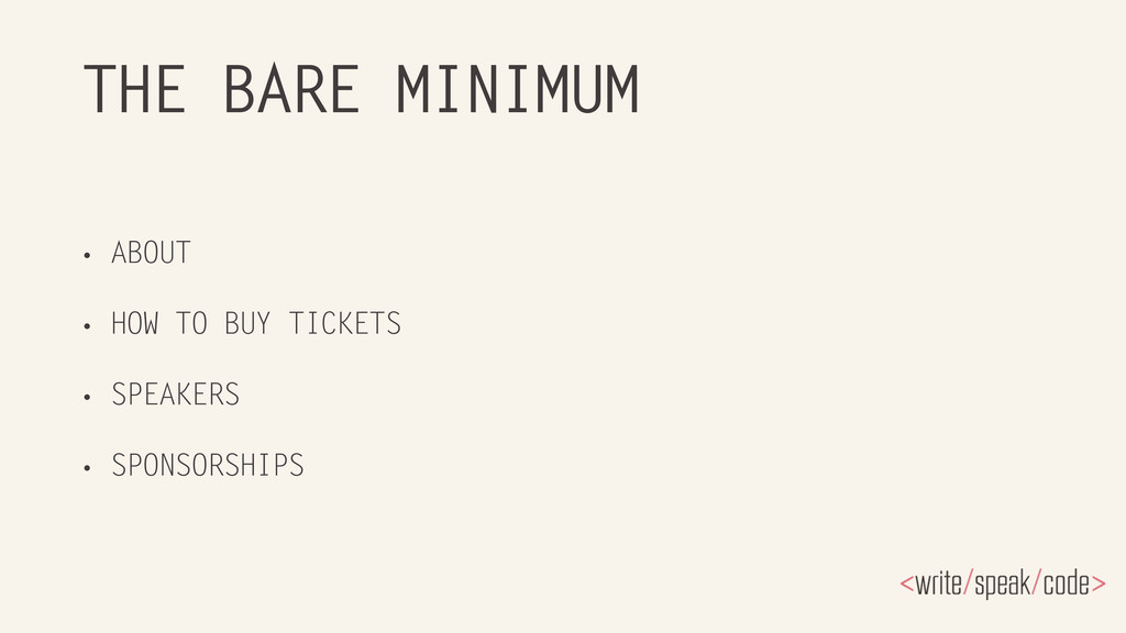 THE BARE MINIMUM • ABOUT • HOW TO BUY TICKETS •...