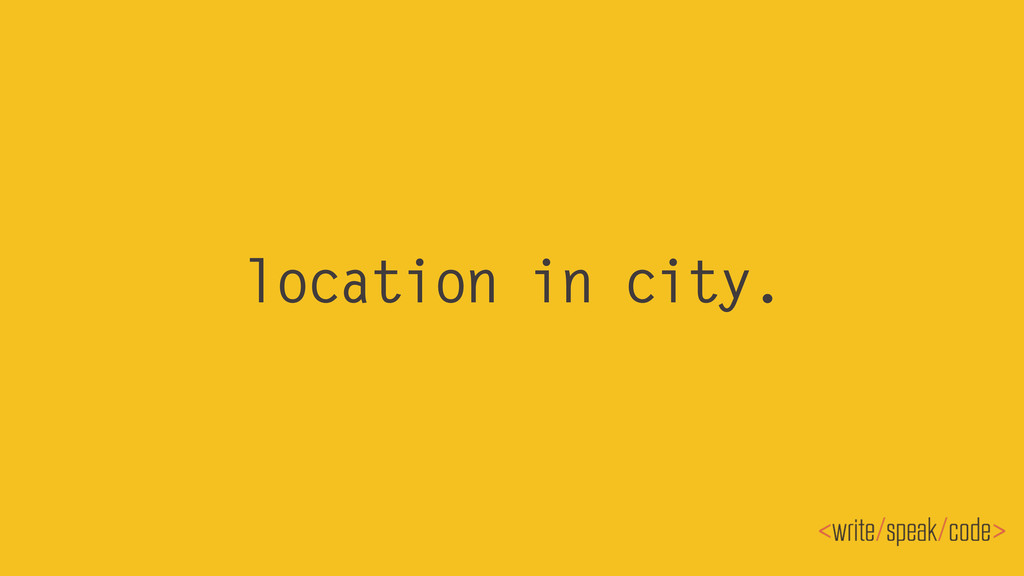 location in city.