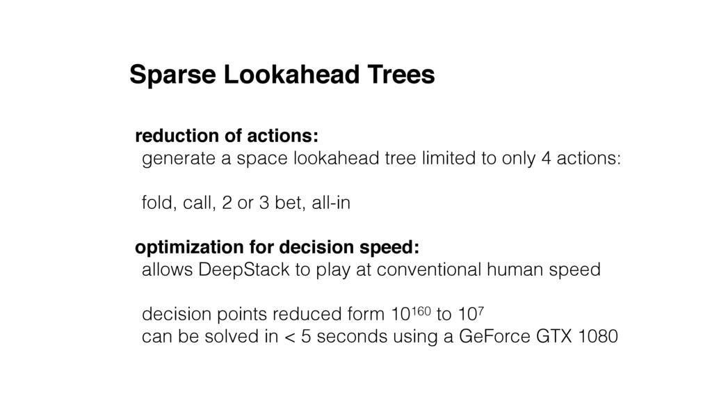 Sparse Lookahead Trees reduction of actions: ge...