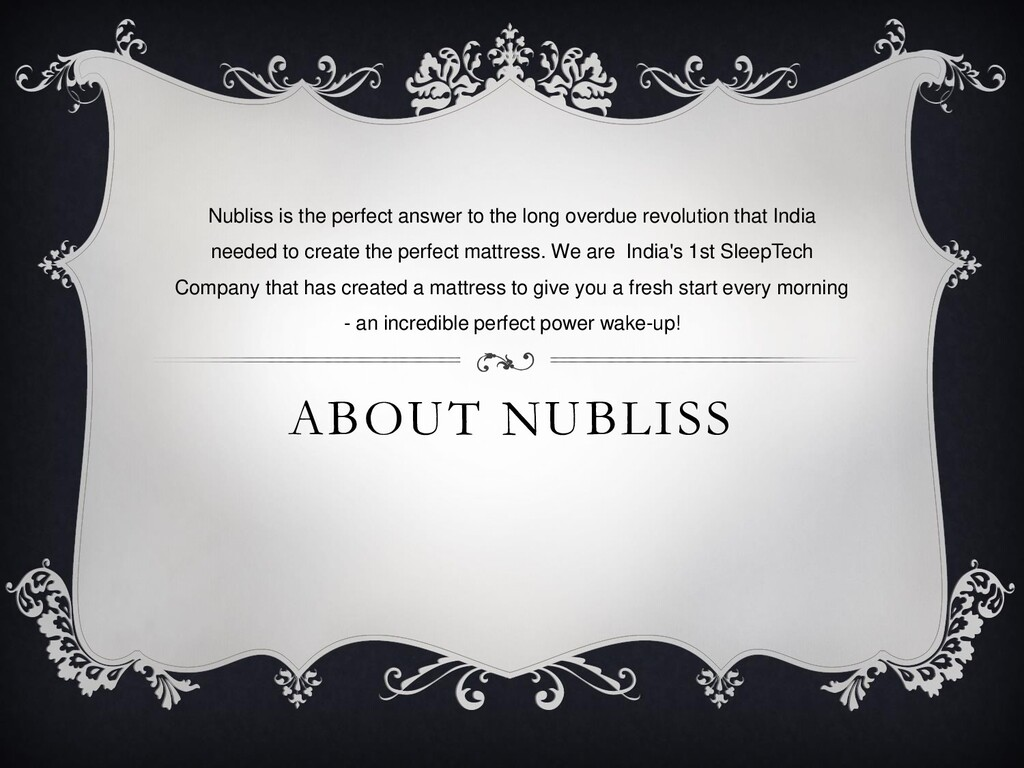 ABOUT NUBLISS Nubliss is the perfect answer to ...