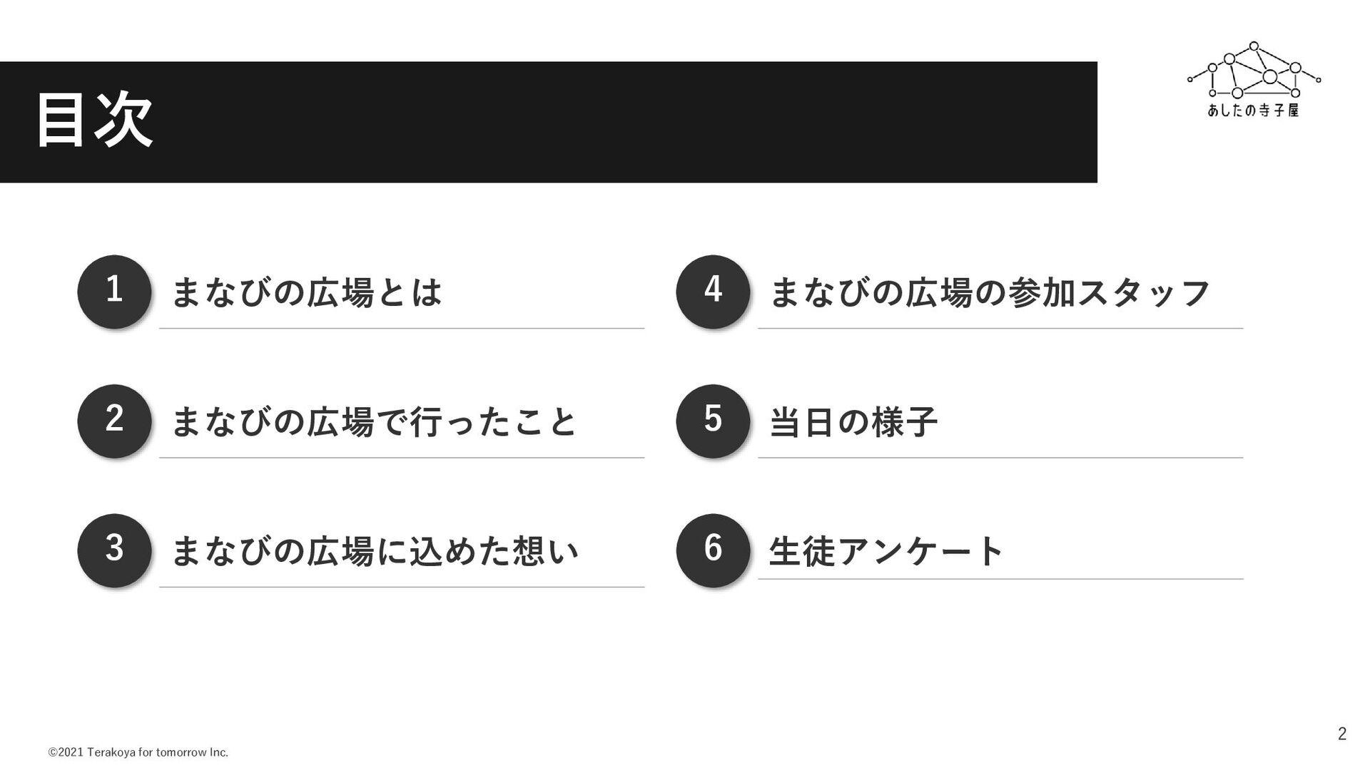 ©2021 Terakoya for tomorrow Inc. 2 まなびの広場とは まなび...