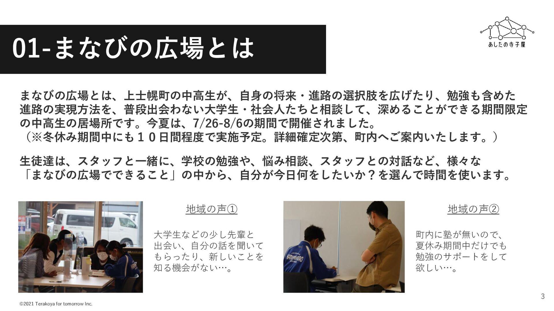 ©2021 Terakoya for tomorrow Inc. 3 01-まなびの広場とは ...