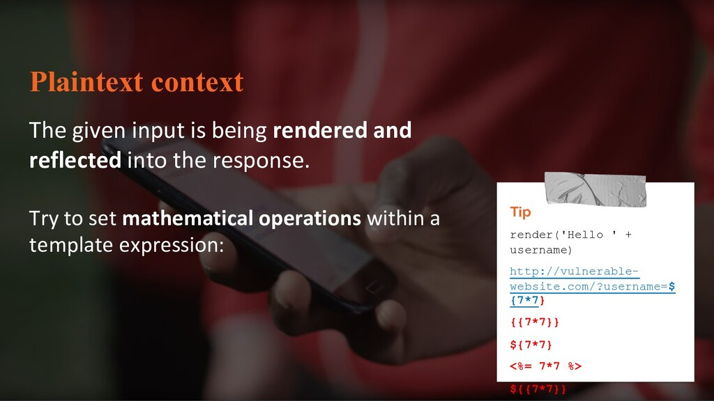 Plaintext context The given input is being rend...