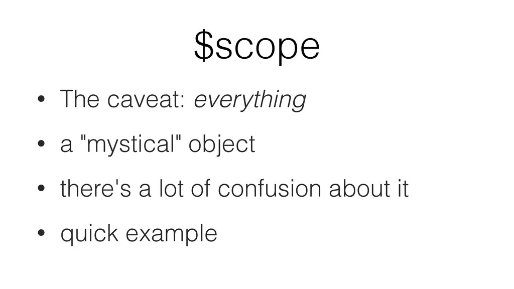 "$scope • The caveat: everything • a ""mystical"" ..."