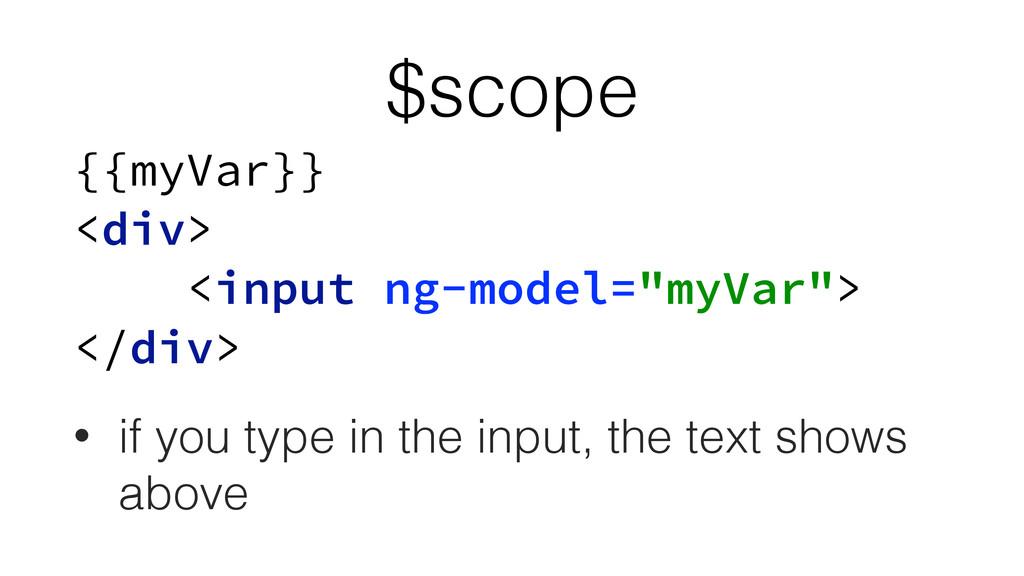 """$scope {{myVar}} <div> <input ng-model=""""myVar..."""