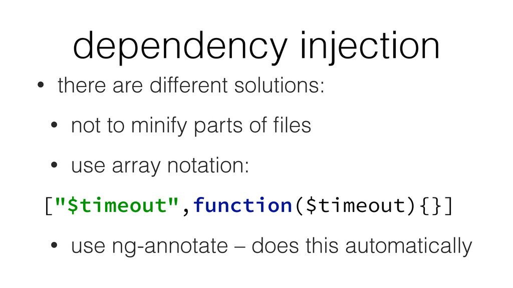dependency injection • there are different solu...