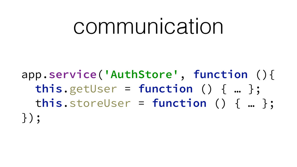 communication app.service('AuthStore', function...