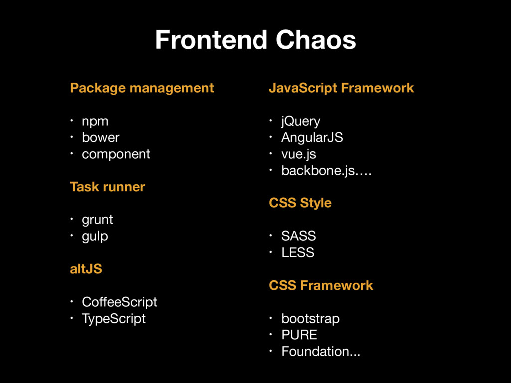Frontend Chaos Package management • npm  • bowe...