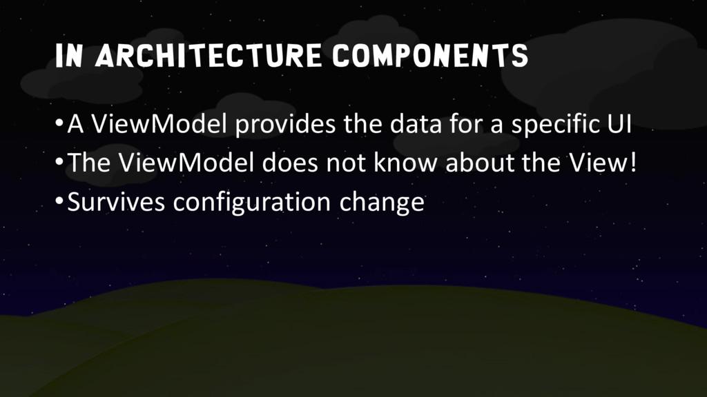 In architecture components •A ViewModel provide...