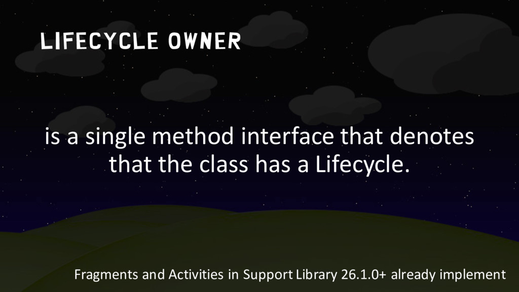 LIFECYCLE OWNER is a single method interface th...