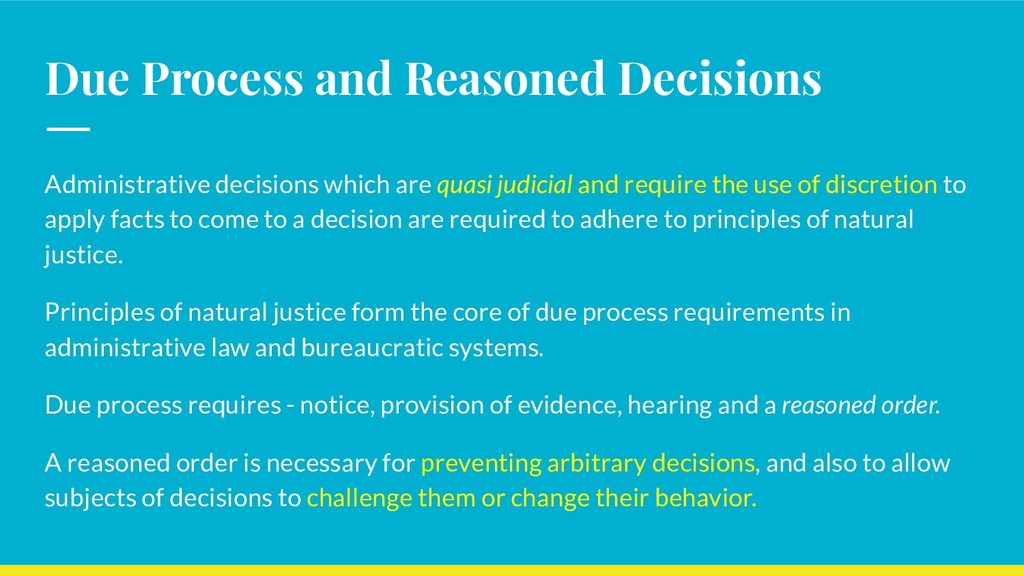 Due Process and Reasoned Decisions Administrati...