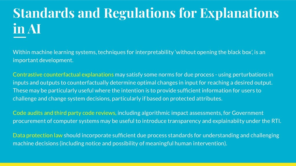 Standards and Regulations for Explanations in A...
