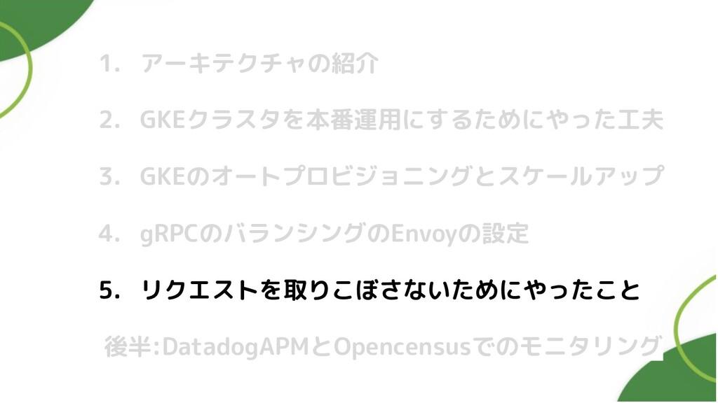 1. アーキテクチャの紹介 2. GKEクラスタを本番運用にするためにやった工夫 3. GKE...