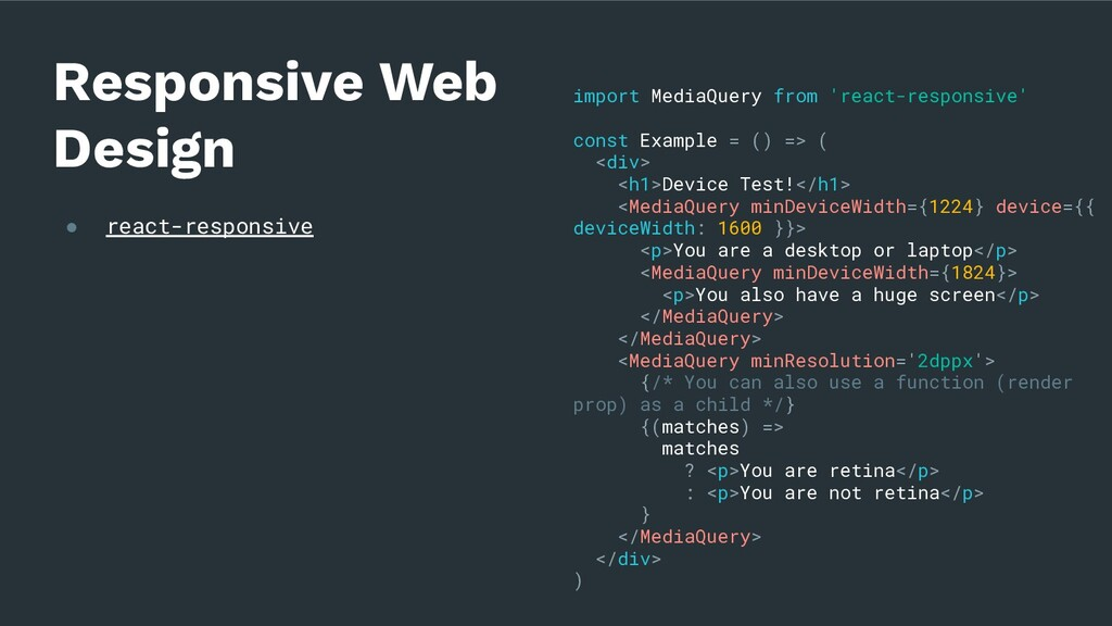 ● react-responsive Responsive Web Design import...