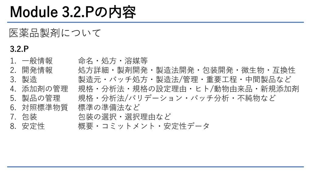 Module 3.2.Pの内容 医薬品製剤について 3.2.P 1. 一般情報 2. 開発情報...