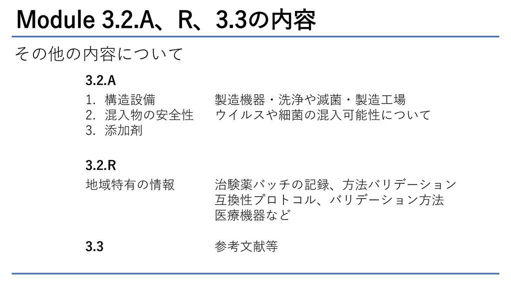 Module 3.2.A、R、3.3の内容 その他の内容について 3.2.A 1. 構造設備 ...