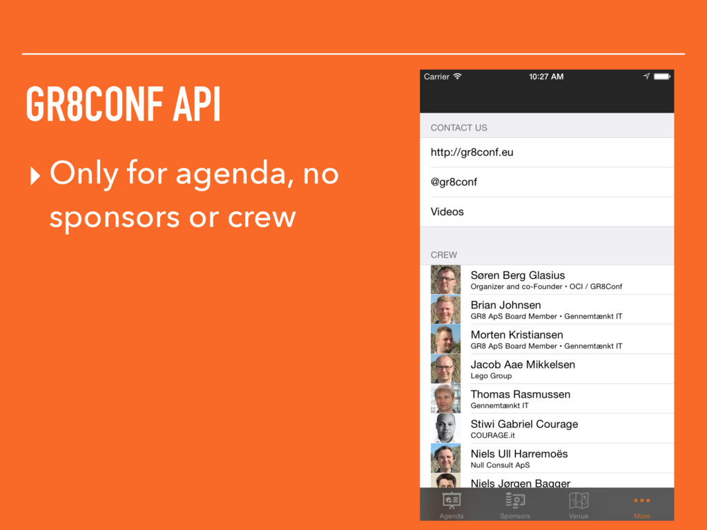 GR8CONF API ▸ Only for agenda, no sponsors or c...