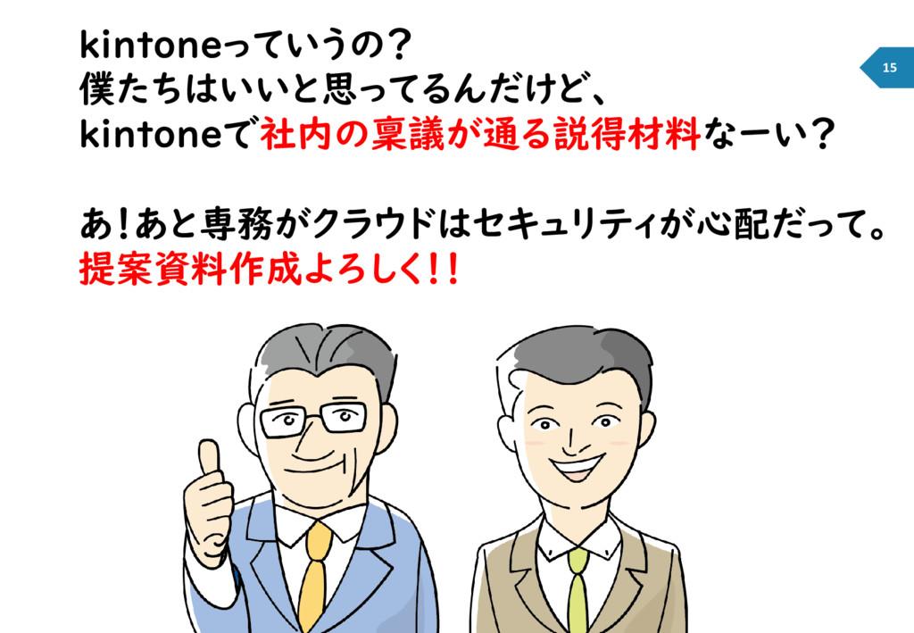 kintoneっていうの? 僕たちはいいと思ってるんだけど、 kintoneで社内の稟議が通る...