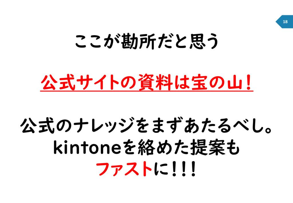 ここが勘所だと思う 公式サイトの資料は宝の山! 公式のナレッジをまずあたるべし。 kinton...