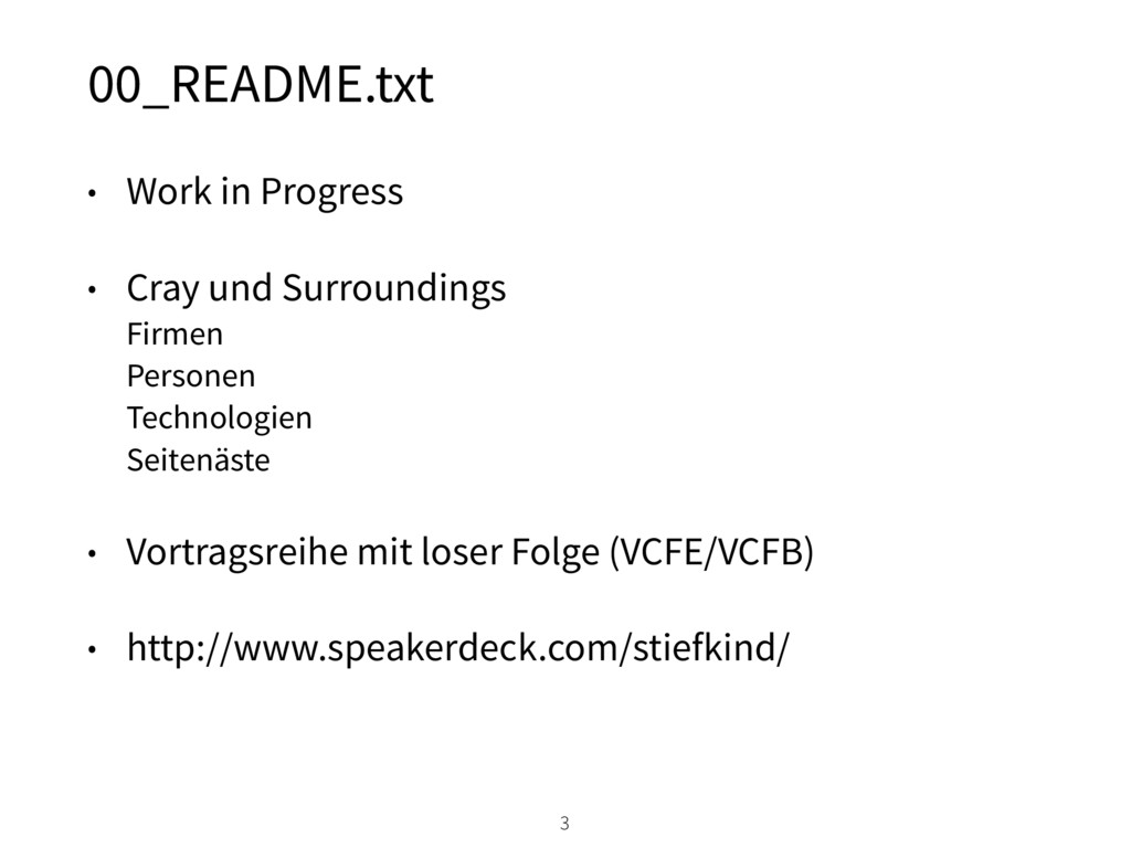 00_README.txt • Work in Progress • Cray und Sur...