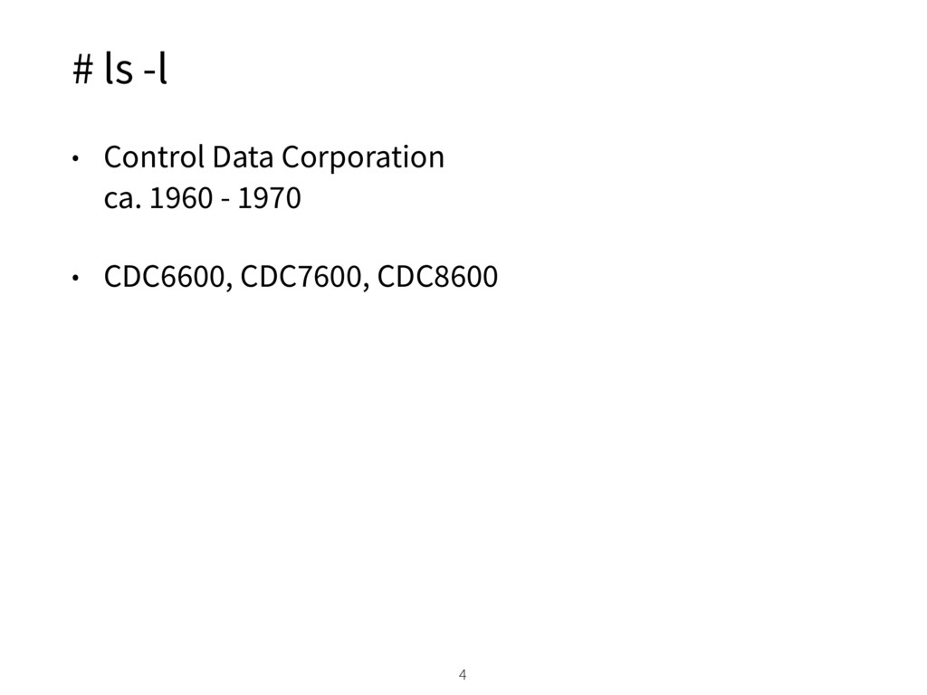 # ls -l • Control Data Corporation