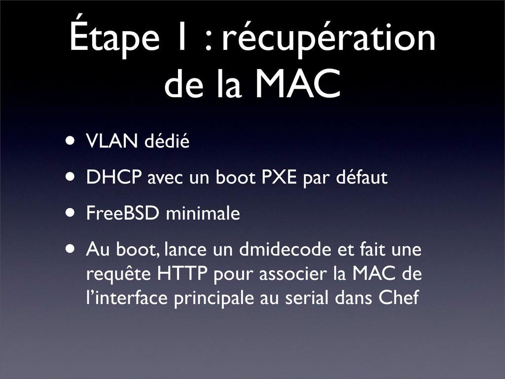 Étape 1 : récupération de la MAC • VLAN dédié •...