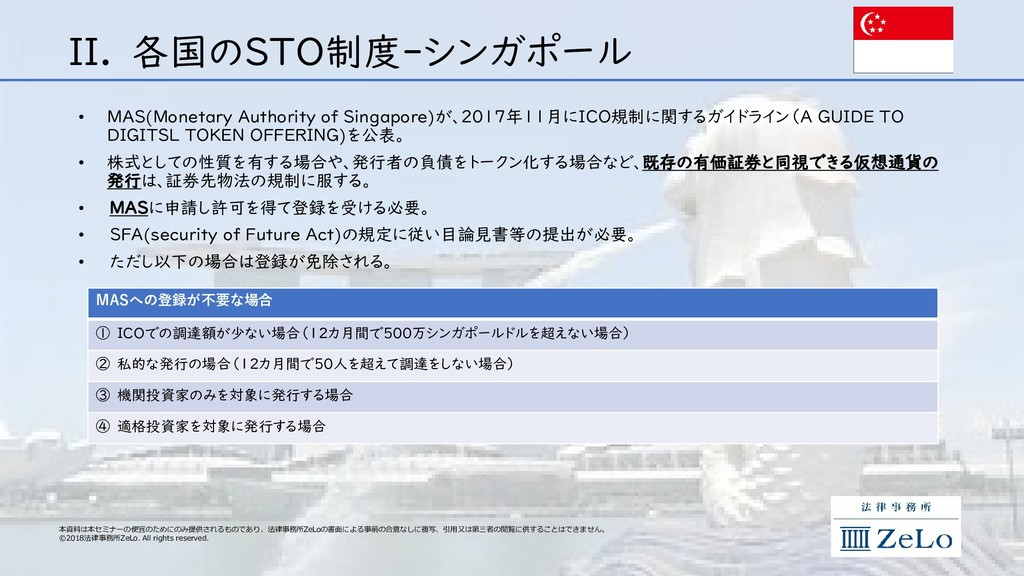 II. 各国のSTO制度‐シンガポール • MAS(Monetary Authority of...