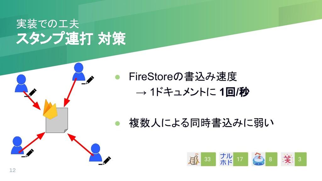 実装での工夫 スタンプ連打 対策 ● FireStoreの書込み速度  → 1ドキュメントに ...